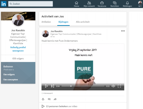 e8be6ab7d00 Uw video nu ook op LinkedIn | KlantVisie